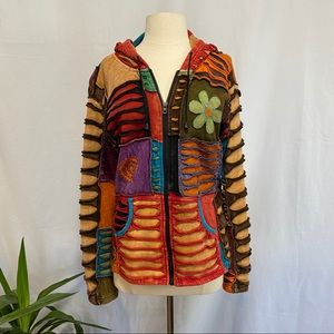 The collection royal patchwork zippered hoody   M